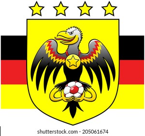Black eagle smiling mischievously, staring at you, opening its wings, showing a starred medal hanging from its neck and holding a soccer ball with its talons while posing in a German coat of arms