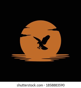 black eagle with sun and sea logo design vector