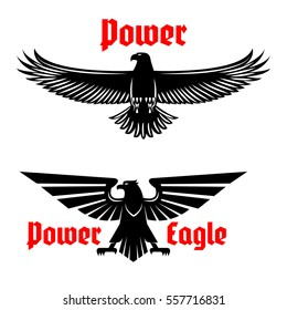 Black eagle vector icons. Heraldic symbol of power with predatory bird. Isolated bird with open spread wings and sharp clutches for sport mascot, military or security army shield,  coat of arms