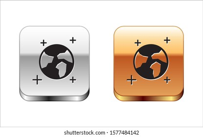 Black Earth globe icon isolated on white background. World or Earth sign. Global internet symbol. Geometric shapes. Silver-gold square button. Vector Illustration
