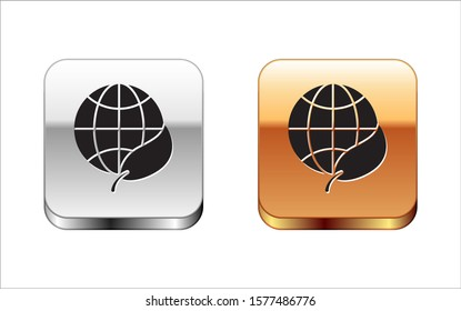 Black Earth globe and leaf icon isolated on white background. World or Earth sign. Geometric shapes. Environmental concept. Silver-gold square button. Vector Illustration