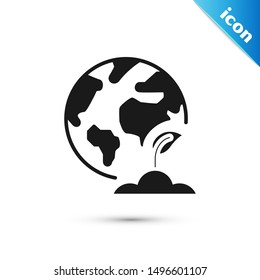 Black Earth globe and plant icon isolated on white background. World or Earth sign. Geometric shapes. Environmental concept.  Vector Illustration