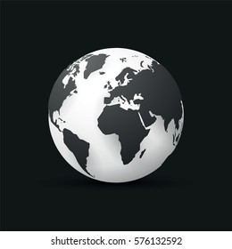 black earth globe world map design