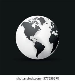black earth globe world map design america