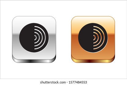 Black Earth structure icon isolated on white background. Geophysics concept with earth core and section layers earth. Silver-gold square button. Vector Illustration