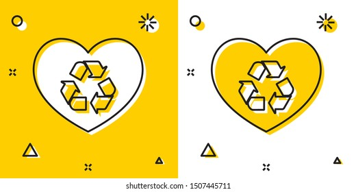 Black Eco friendly heart icon isolated on yellow and white background. Heart eco recycle nature bio. Environmental concept. Random dynamic shapes. Vector Illustration