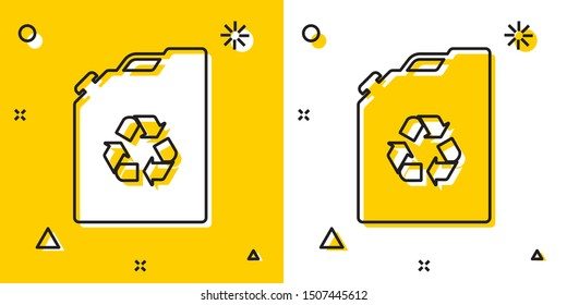 Black Eco fuel canister icon isolated on yellow and white background. Eco bio and barrel. Green environment and recycle. Random dynamic shapes. Vector Illustration