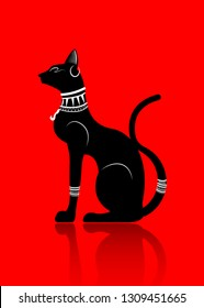 Black Egyptian cat. Bastet, ancient Egypt goddess, statue profile with Pharaonic jewelry, vector Illustration isolated or red  background