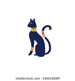Black Egyptian cat statue vector Illustration isolated on white background. Bastet an ancient Egypt goddess sculpture profile with Pharaonic gold jewelry and precious stones.