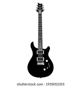 Black electric guitar 6 string on white background. Vector.