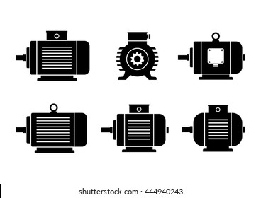 Black electric motor icons on white background