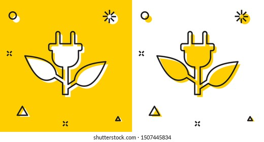 Black Electric saving plug in leaf icon isolated on yellow and white background. Save energy electricity icon. Environmental protection icon. Bio energy. Random dynamic shapes. Vector Illustration