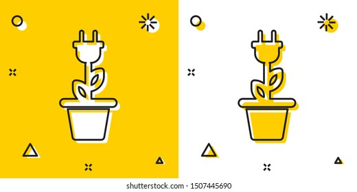 Black Electric saving plug in pot icon isolated on yellow and white background. Save energy electricity icon. Environmental protection icon. Bio energy. Random dynamic shapes. Vector Illustration