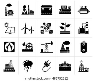 Black Electricity and Energy source icons - vector icon set