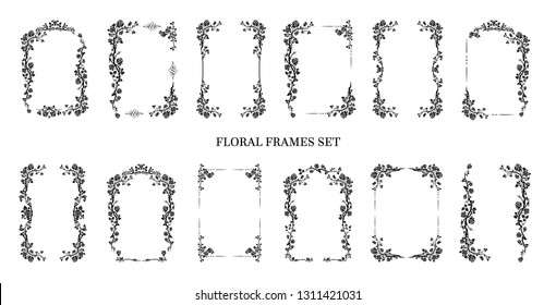 Black elegant frames set of roses for holiday design wedding, anniversary, party, birthday. For invitation, ticket, leaflet, banner, poster and tattoo. Fairy flourish design elements