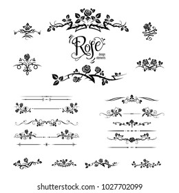 Black elegant silhouette of roses for holiday design wedding, anniversary, party, birthday. For invitation, ticket, leaflet, banner, poster and tattoo. Fairy floral flourish design elements