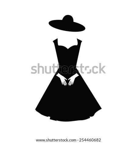 Black Elegant Woman Dress Gloves Hat Stock Vector Royalty Free