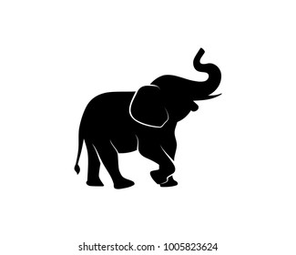 Black Elephant Illustration Animal on Zoo Silhouette Logo Vector