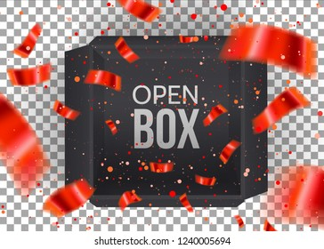 Black empty open box with falling Red Confetti isolated on transperent background.Black Gift Box. Top view. Template for your design, banner, brochure. Vector illustration.