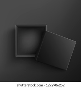 Black empty present box view top. Vector opened surprise package for christmas, birthday celebration design. Boxing day, black friday discounts banners element, black background illustration