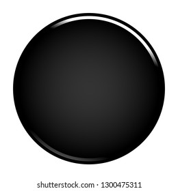 Black empty round button. Glossy icon circle shape isolated on white background. The graphic element for design saved as a vector illustration in the EPS file format.
