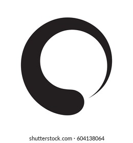 Black enso zen circle In Simple Black Style Isolated On White Background. Created For Mobile, Web, Decor, Print Products, Application.