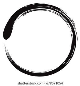 Black Enso Zen Circle Vector Brush