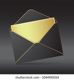 Black envelope greeting card. Black opened envelope with golden paper standing on a black background. Realistic vector mockup.