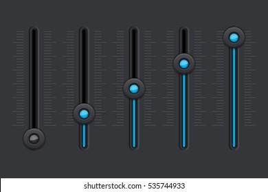 Black equalizer with blue slider buttons. Vector illustration.