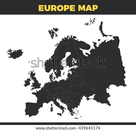 Black Europe Map Design Vector Illustration Stock Vector Royalty