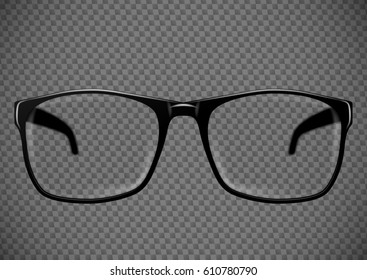Black eye glasses. Spectacles with lens vector illustration