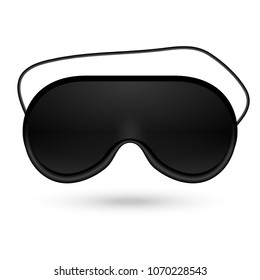 Black eye sleep mask vector illustration. Sleep accessory object. Eye protection for rest night travel.