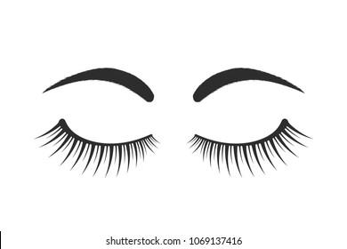 black eyebrows and eyelashes logo. contour flat style trend modern graphic art design on white. concept of simple emblem for microblading, micropigmentation, botox and permanent makeup in beauty salon