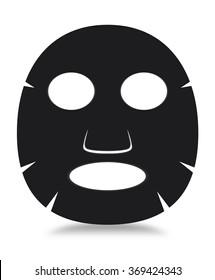 Black facial sheet mask on white background