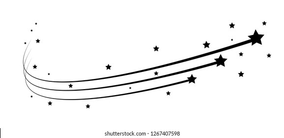 Black falling stars concept. Comet, meteoroid, asteroid, stars symbols.  Shooting star abstract with star trail isolated on white background. Vector illustration