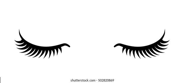 Black false eyelashes icon. Beauty product for eyelash extension