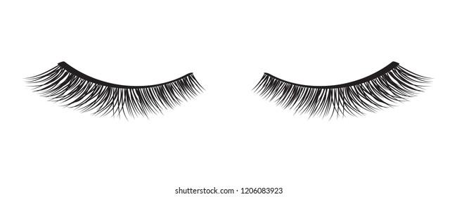 Black false eyelashes. Mascara decorative element vector illustration