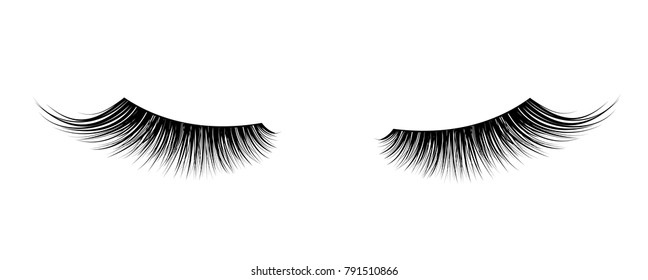 Black False eyelashes. Mascara single decorative element.