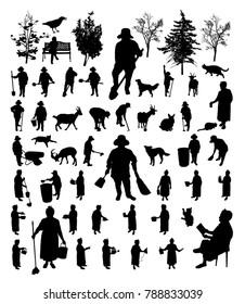 Black farmer women isolated silhouette set