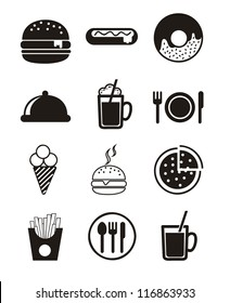 black fast food icons over white background. vector