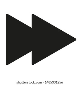 Black fast forward icon isolated on white background