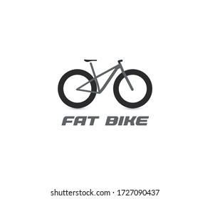 Black fat mountain bike silhouette logo. All-terrain bicycle logotype. Professional cycling icon. Cross country cycle, bike ride sign.