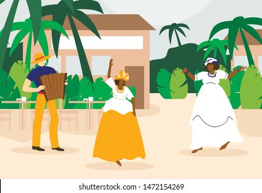 Black Fat Women Dancing near Cafe under Palm. Man Playing Accordion. People Celebrate Days of Brazilian Carnival. Traditional Brazilian Costume. Vintage Dress. People Have Fun. Vector Illustration.