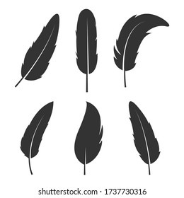 Black Feather sets vector design illustration isolated in white color