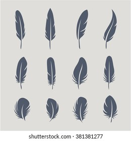 Black feathers icon set isolated on light background