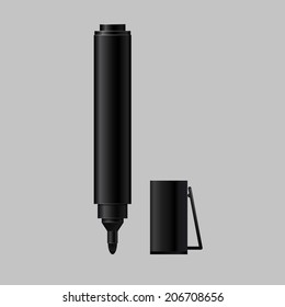 Black felt tip marker with a cap, isolated on a gray background. Vector illustration.