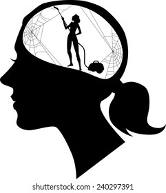 Black female profile with a silhouette of woman, cleaning cobweb, vector illustration