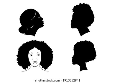 Black females silhouettes, face profile, vignette. Afro woman in profile.  Hand drawn vector illustration, isolated on white background. Design for invitation, greeting card, vintage style.