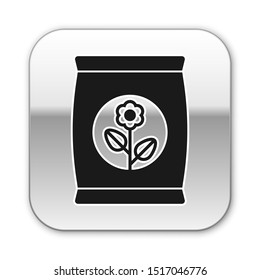Black Fertilizer bag icon isolated on white background. Silver square button. Vector Illustration