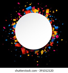 Black festive background with color confetti. Vector illustration.